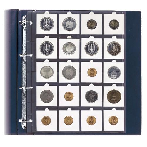 Feuille pour monnaies sous étuis carton