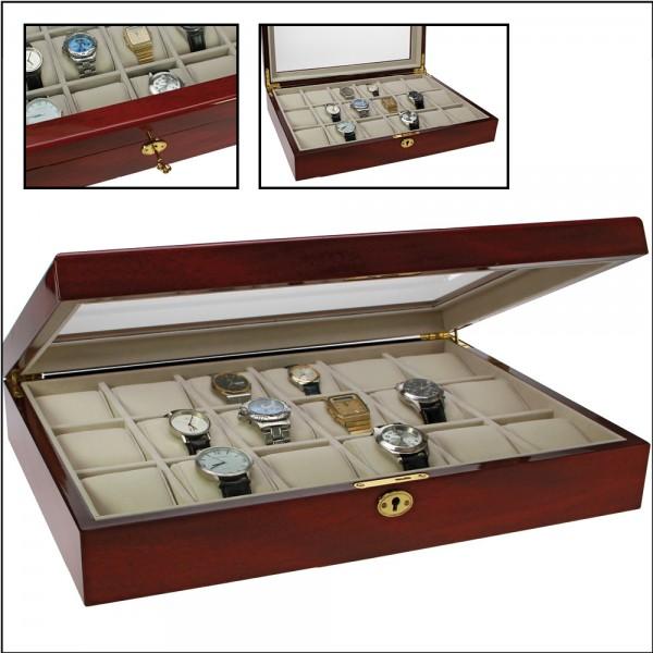 Coffret-vitrine en bois pour 18 montres